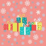 Drawings for Christmas. Image of gifts on the background of snowflakes. Christmas advent calendarPictures for advent calendar in green and pink colors. Image of vector illustration