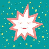 Drawings for Christmas. The image of a smiling Christmas star. royalty free illustration