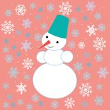 Drawings for Christmas. Image of a snowman on the background of snowflakes. stock illustration