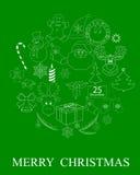 Drawings of Christmas symbols Stock Photo
