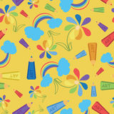 Drawings with colored pencils. Art. Seamless pattern. Stock Photos