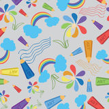 Drawings with colored pencils. Wave. Seamless pattern. Stock Image