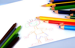 Drawings and crayons stock photos