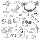 Drawings Elements Of Leisure And Beach Royalty Free Stock Photography