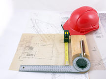 Drawings and engineer tools Royalty Free Stock Photo