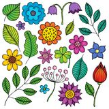Drawings of flowers and leaves theme 2. Eps10 vector illustration stock illustration