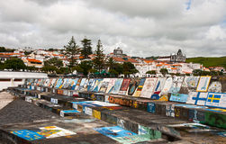 The drawings in the harbour of islands Faial Stock Photos
