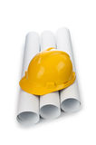 Drawings and hard hat Royalty Free Stock Image