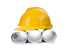 Drawings and hard hat isolated Royalty Free Stock Images