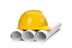 Drawings and hard hat isolated Stock Images
