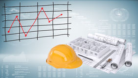 Drawings, helmet and building walls Royalty Free Stock Image