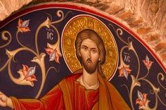 Drawings of jesus on the wall at Meteora Monastery Kalambaka Gre stock image