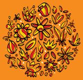 Drawings of leaves and flowers. In orange background Royalty Free Stock Photos