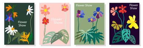 Set of colorful cards. Drawings with leaves, flowers and other botanical elements. Modern design for posters, covers, flyers stock illustration