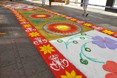 Colorful carpet for the procession of the Virgin, Andalusia, Spain Royalty Free Stock Images