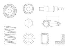 Drawings of mechanical parts. Gears and mechanisms Stock Photo