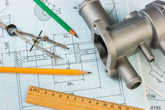 Drawings of mechanisms Stock Image