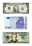 Drawings of money. Three detailed drawings of paper money including a one and a twenty US dollar bill, and a twenty Euro bill Royalty Free Stock Images