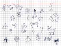 Drawings on a note Royalty Free Stock Photography
