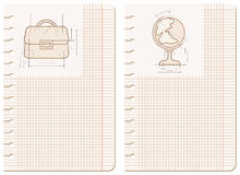 Drawings on notebook sheet. Paper sheet with schematic drawings of globe and briefcase Royalty Free Stock Images