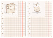 Drawings on notebook sheet. Paper sheet with schematic drawings of book and apple Stock Photo