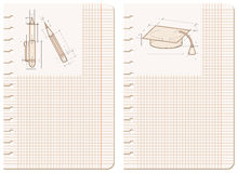 Drawings on notebook sheet Royalty Free Stock Image