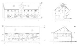 Drawings of the old house, facades. Renovation project of the old building, facades Royalty Free Stock Photography