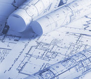 Drawings projects. The part of architectural project Stock Photography
