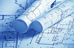 Drawings projects. The part of architectural project Royalty Free Stock Photography