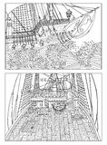 Drawings with sailing ships Stock Images