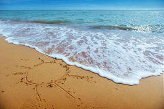 Drawings in the sand on the beach.  Royalty Free Stock Photo