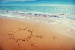 Drawings in the sand on the beach.  Royalty Free Stock Photos