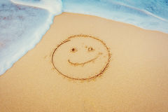 The drawings in the sand at the beach.  Royalty Free Stock Photos