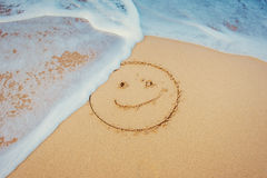 The drawings in the sand at the beach.  Royalty Free Stock Photography