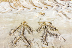 Drawings in sand Stock Photo