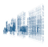 Drawings of skyscrapers and homes. Vector illustration isolated on white background Royalty Free Stock Photos