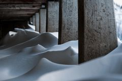 Drawings of snow accumulated inside a farmhouse.  Stock Photography