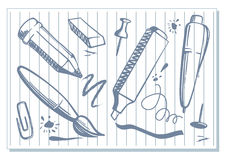 Drawings of stationery Royalty Free Stock Images