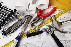 Drawings  and tools Stock Photo
