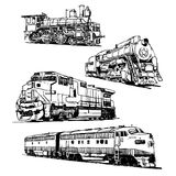 Drawings of trains Royalty Free Stock Images