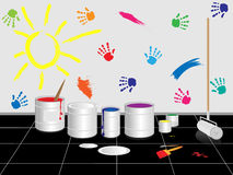 Drawings on wall vector illustration