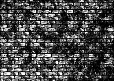 Drawn abstract black and white background with bricks. Stock Photo