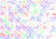 Drawn abstract watercolor colorful background with bricks Royalty Free Stock Images