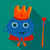 Drawn adult sea king with a crown and staff. Royalty Free Stock Photography