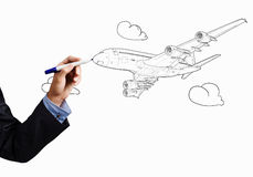 Drawn airplane Royalty Free Stock Photography