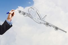 Drawn airplane Royalty Free Stock Image
