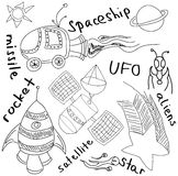 Drawn alien and rockets on white. Drawn alien and rockets on isolated white background with words. Vector illustration Stock Photos
