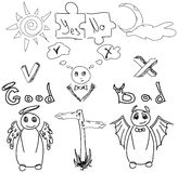 Drawn angel and devil Royalty Free Stock Images