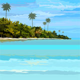 Drawn background tropical sea-coast day Stock Images