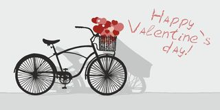 Drawn bicycle and Valentines day. Drawn bicycle on the background of the inscription Happy Valentines day Royalty Free Stock Photos